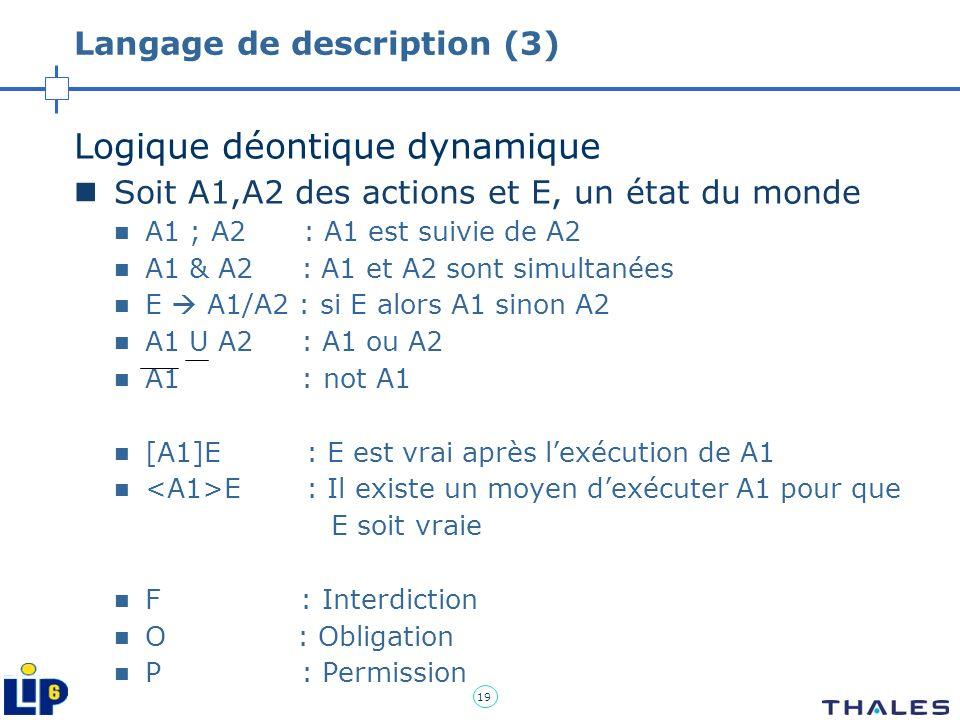 19 Langage de description (3) Logique déontique dynamique Soit A1,A2 des actions et E, un état du monde A1 ; A2 : A1 est suivie de A2 A1 & A2 : A1 et