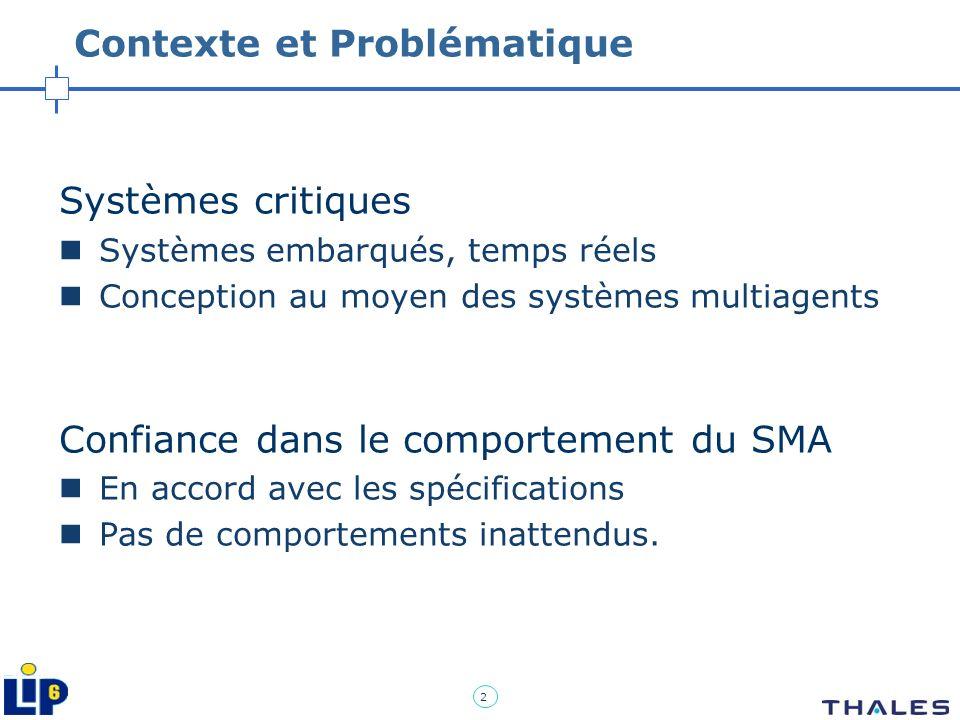 2 Contexte et Problématique Systèmes critiques Systèmes embarqués, temps réels Conception au moyen des systèmes multiagents Confiance dans le comporte
