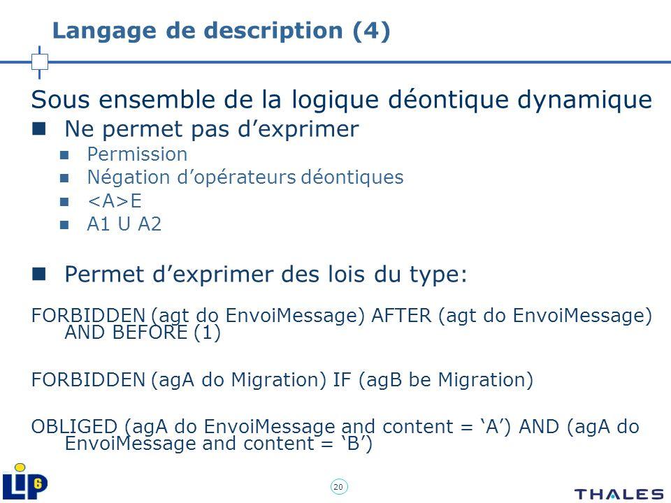 20 Langage de description (4) Sous ensemble de la logique déontique dynamique Ne permet pas dexprimer Permission Négation dopérateurs déontiques E A1
