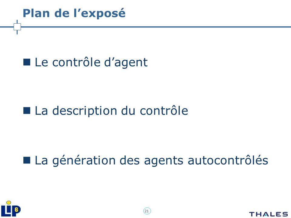 21 Plan de lexposé Le contrôle dagent La description du contrôle La génération des agents autocontrôlés