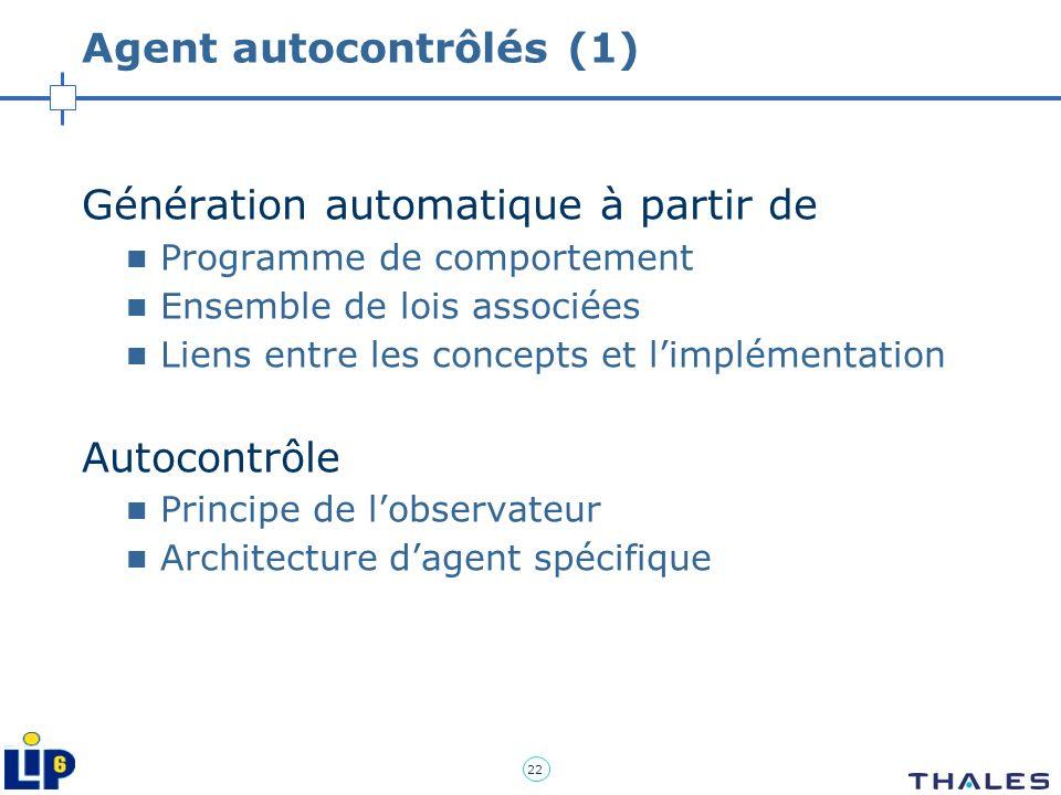 22 Agent autocontrôlés (1) Génération automatique à partir de Programme de comportement Ensemble de lois associées Liens entre les concepts et limplém