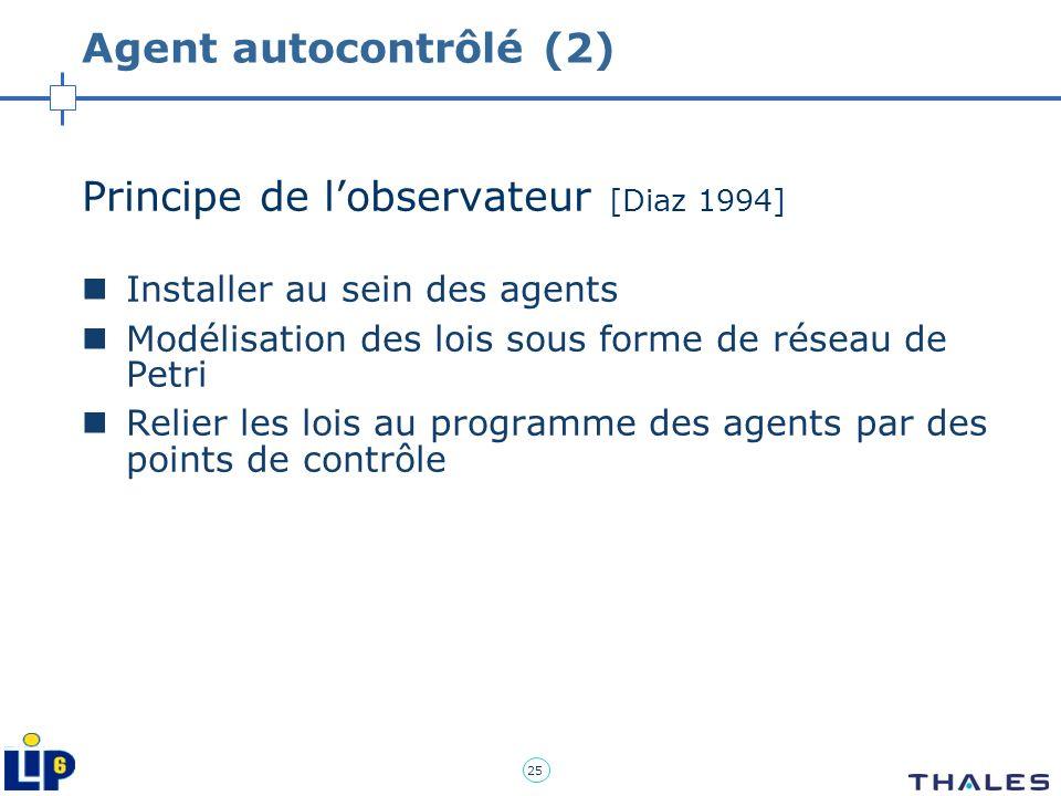 25 Agent autocontrôlé (2) Principe de lobservateur [Diaz 1994] Installer au sein des agents Modélisation des lois sous forme de réseau de Petri Relier