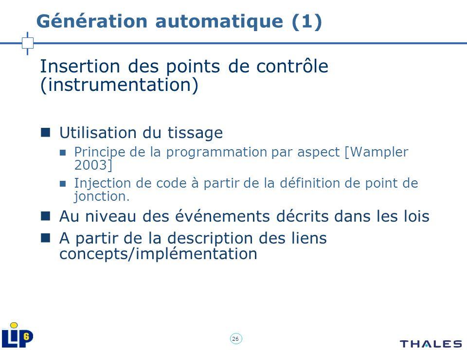 26 Génération automatique (1) Insertion des points de contrôle (instrumentation) Utilisation du tissage Principe de la programmation par aspect [Wampl