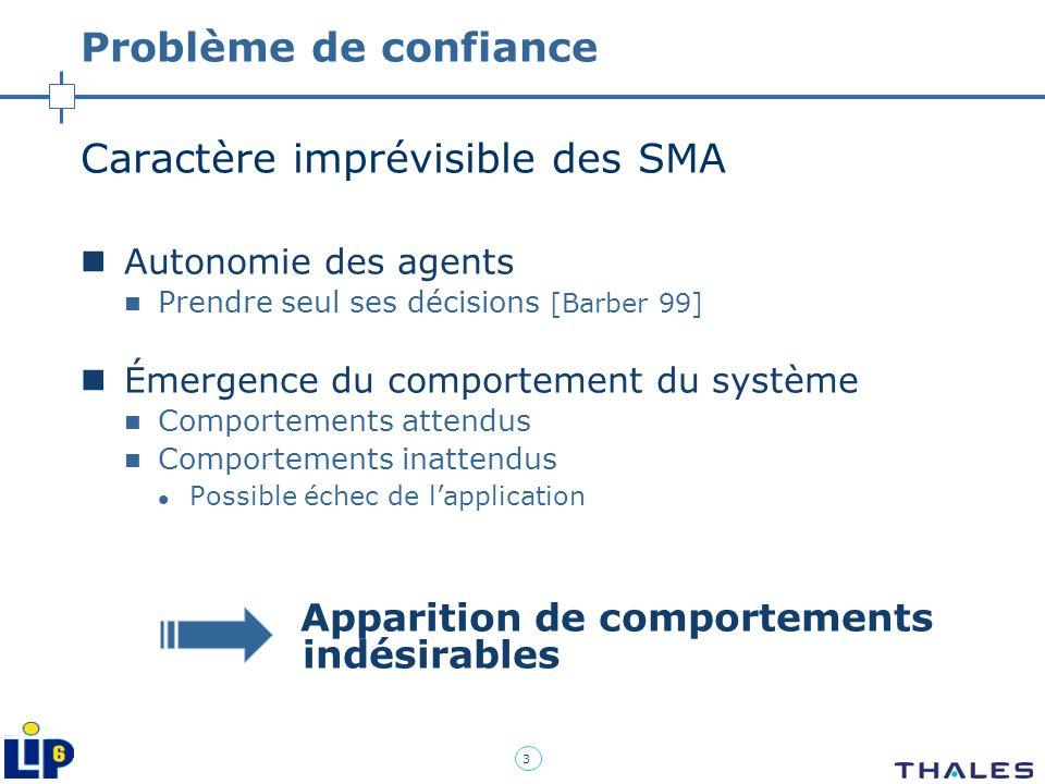 3 Problème de confiance Caractère imprévisible des SMA Autonomie des agents Prendre seul ses décisions [Barber 99] Émergence du comportement du systèm