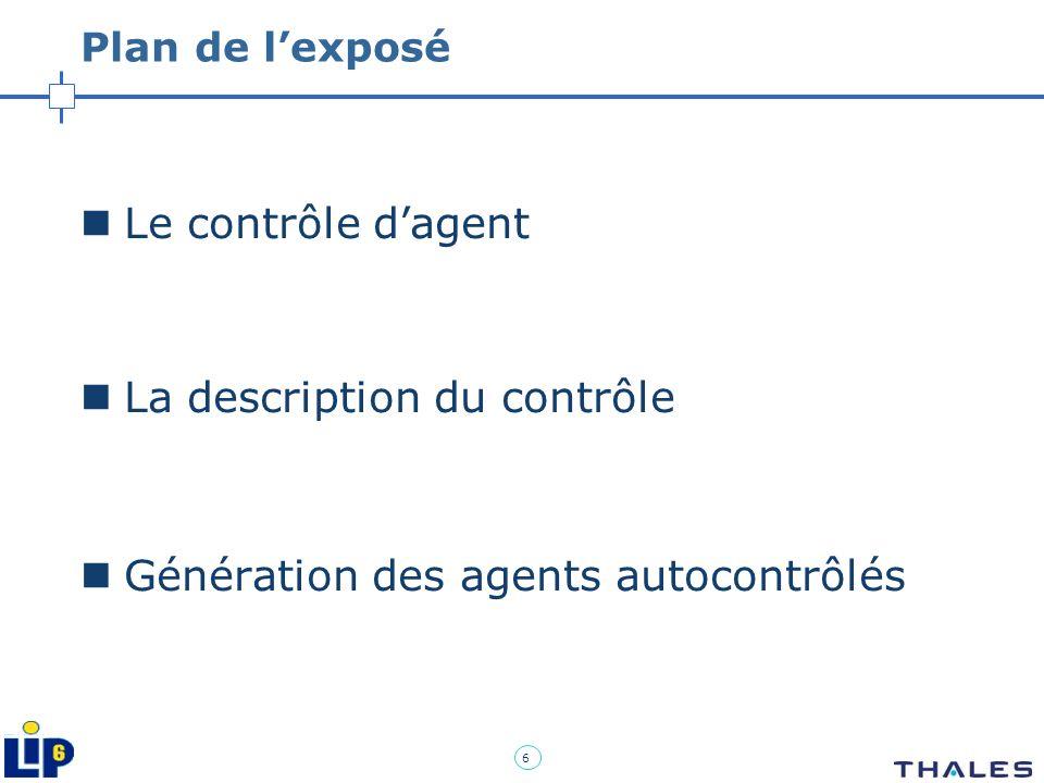 6 Plan de lexposé Le contrôle dagent La description du contrôle Génération des agents autocontrôlés