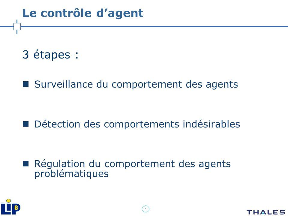 7 Le contrôle dagent 3 étapes : Surveillance du comportement des agents Détection des comportements indésirables Régulation du comportement des agents
