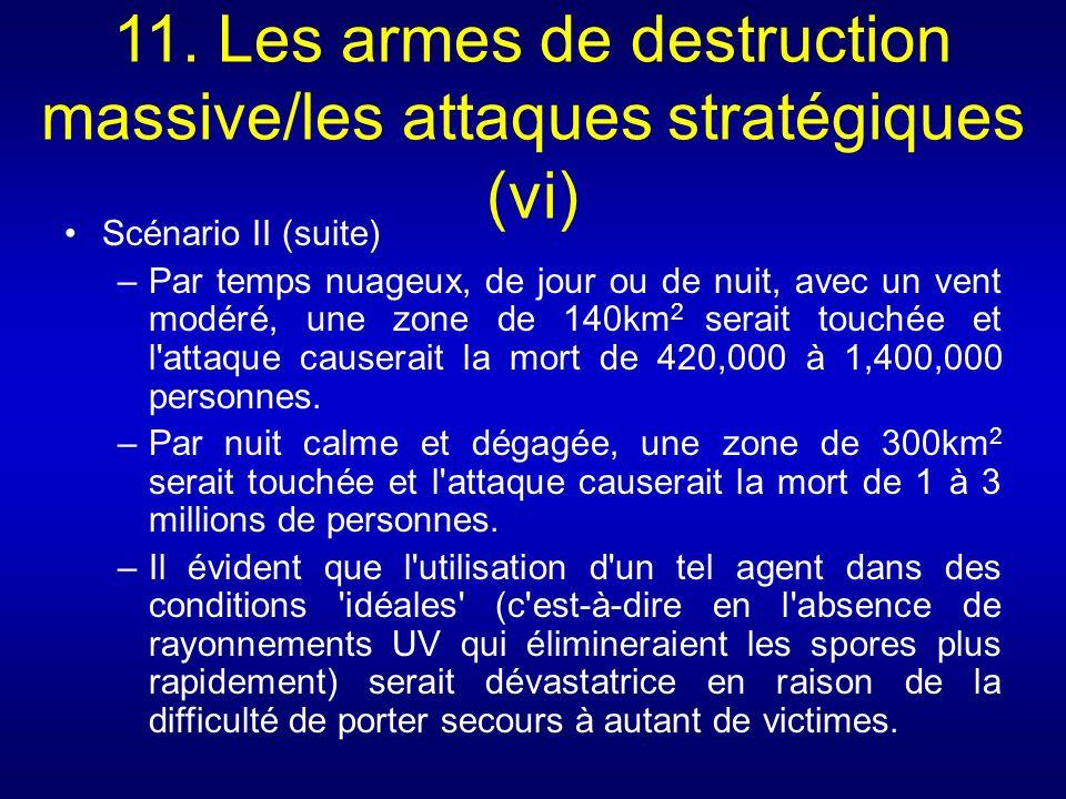 11. Les armes de destruction massive/les attaques stratégiques (vi) Scénario II (suite) –Par temps nuageux, de jour ou de nuit, avec un vent modéré, u
