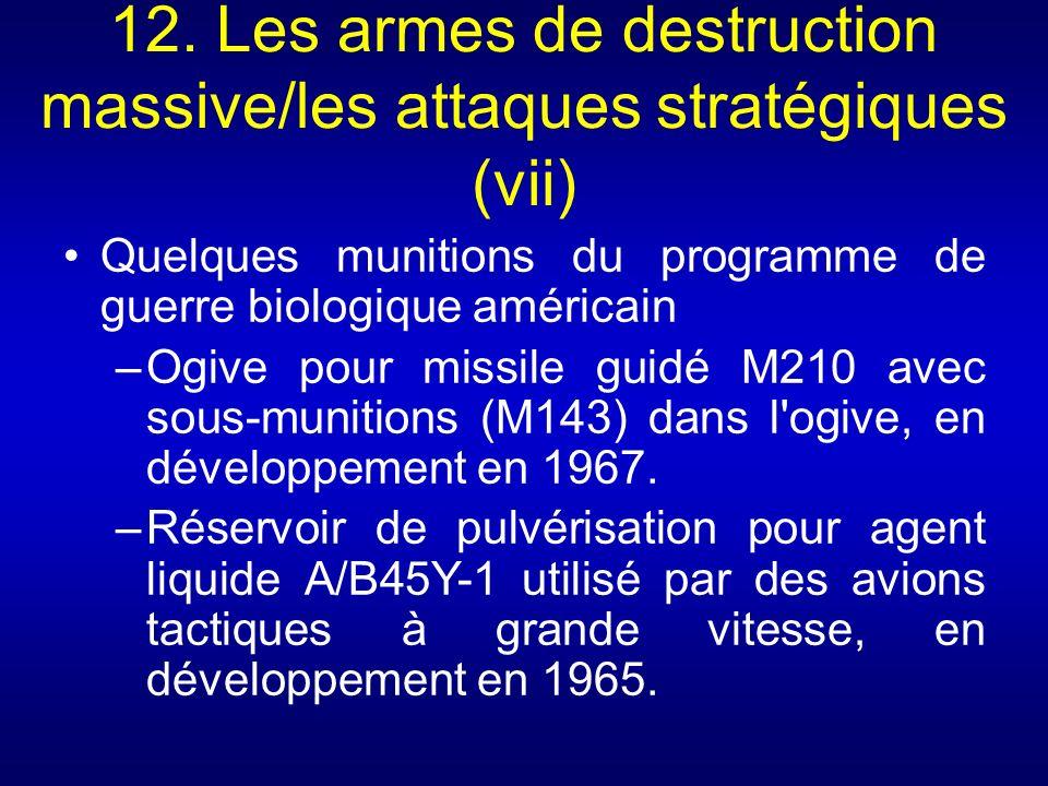 12. Les armes de destruction massive/les attaques stratégiques (vii) Quelques munitions du programme de guerre biologique américain –Ogive pour missil