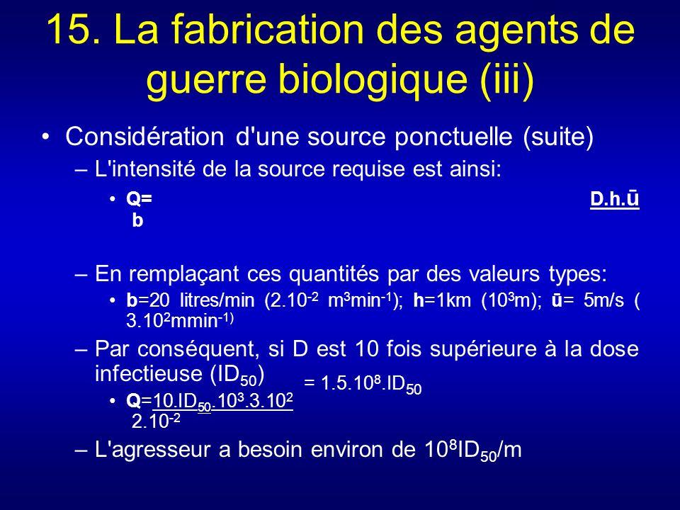 15. La fabrication des agents de guerre biologique (iii) Considération d'une source ponctuelle (suite) –L'intensité de la source requise est ainsi: Q=