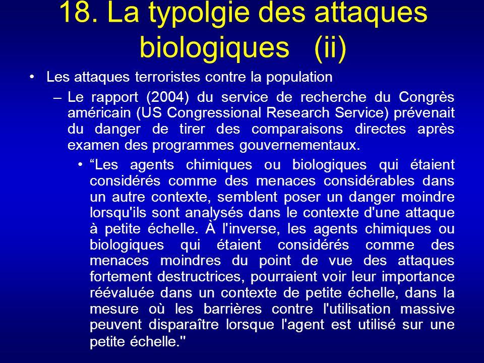 18. La typolgie des attaques biologiques (ii) Les attaques terroristes contre la population –Le rapport (2004) du service de recherche du Congrès amér