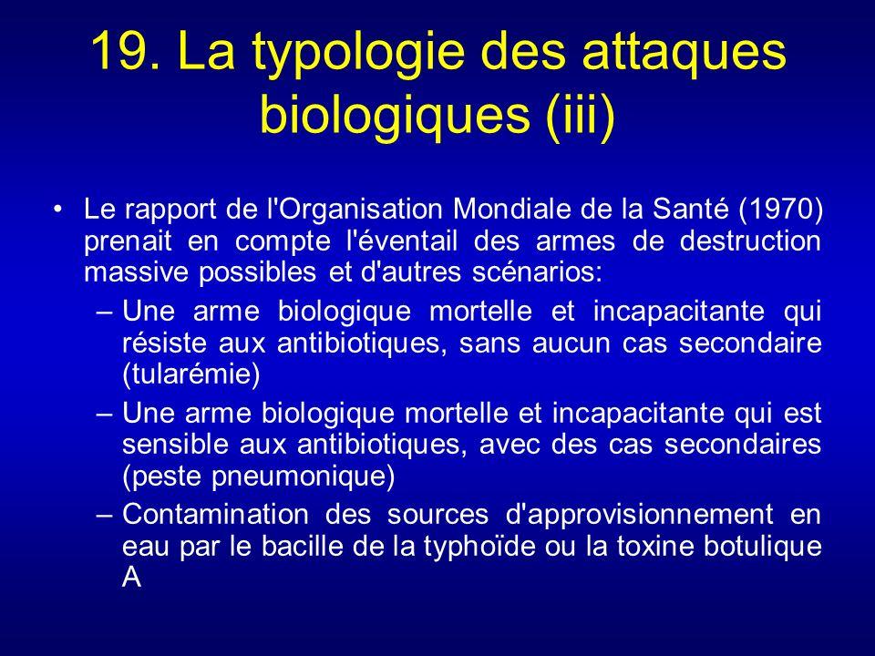 19. La typologie des attaques biologiques (iii) Le rapport de l'Organisation Mondiale de la Santé (1970) prenait en compte l'éventail des armes de des