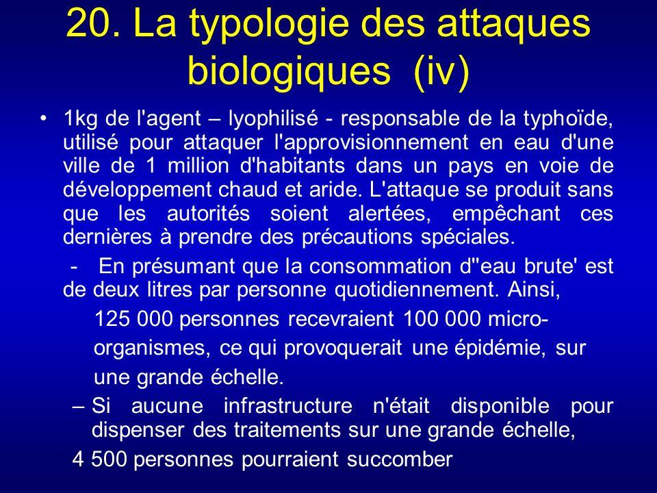 20. La typologie des attaques biologiques (iv) 1kg de l'agent – lyophilisé - responsable de la typhoïde, utilisé pour attaquer l'approvisionnement en