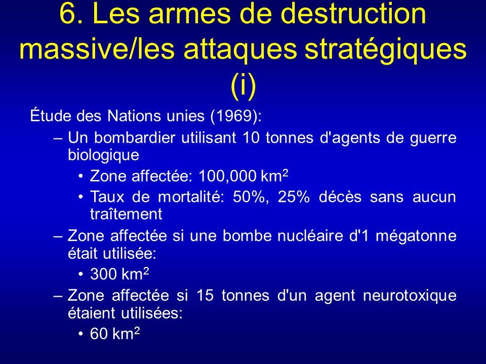 6. Les armes de destruction massive/les attaques stratégiques (i) Étude des Nations unies (1969): –Un bombardier utilisant 10 tonnes d'agents de guerr