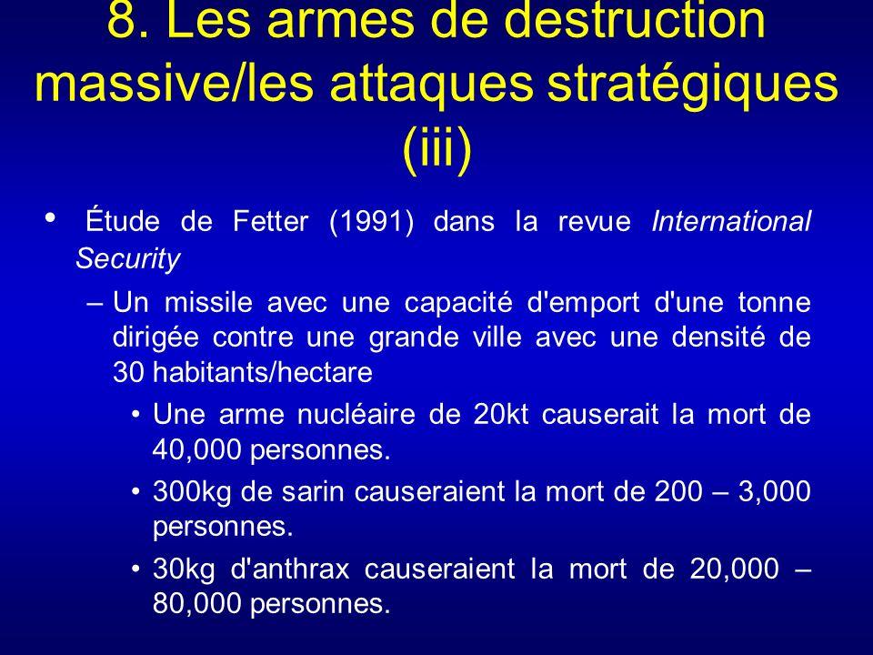 8. Les armes de destruction massive/les attaques stratégiques (iii) Étude de Fetter (1991) dans la revue International Security –Un missile avec une c