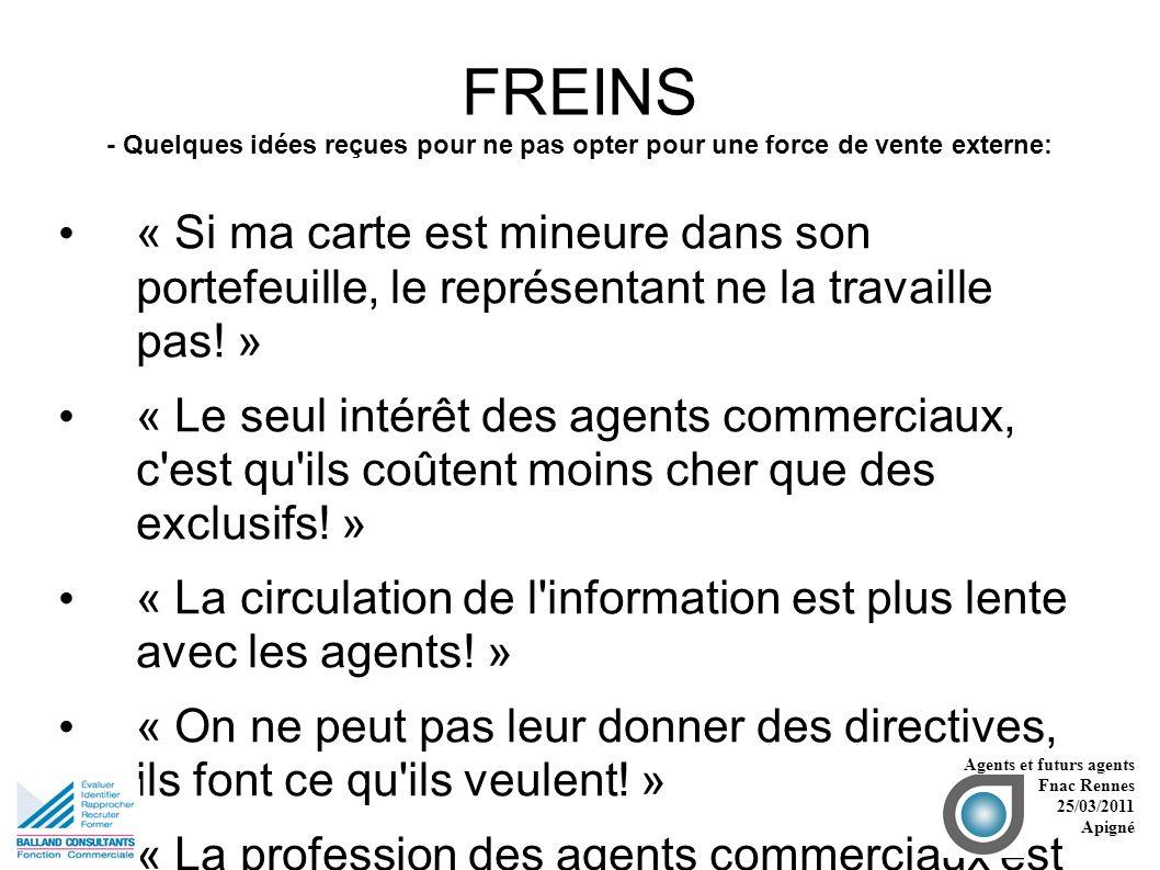 FREINS - Quelques idées reçues pour ne pas opter pour une force de vente externe: « Si ma carte est mineure dans son portefeuille, le représentant ne la travaille pas.
