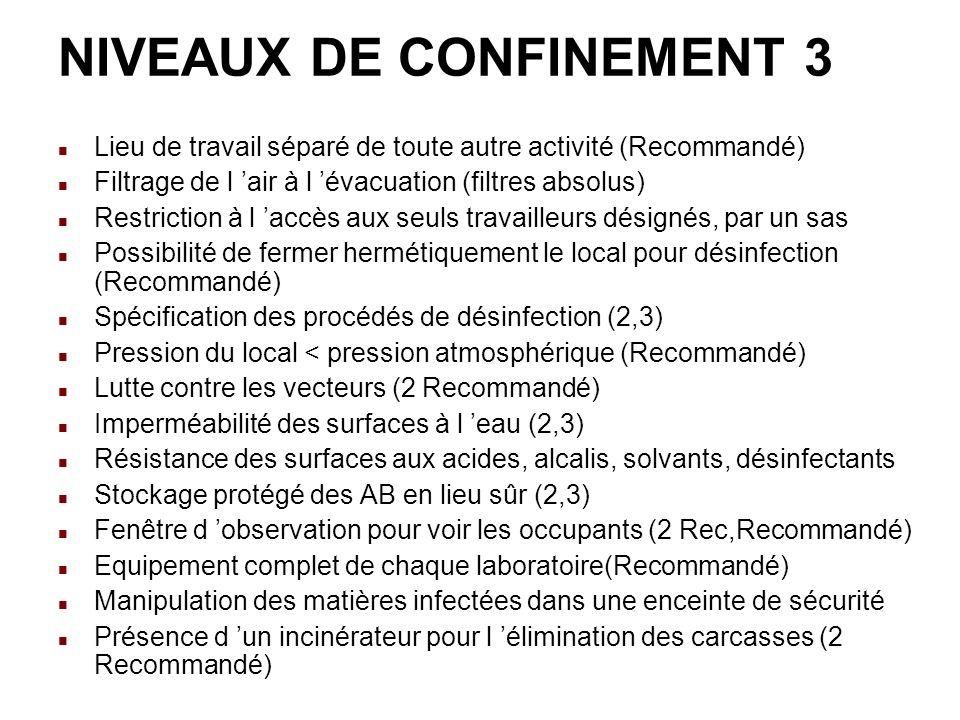 NIVEAUX DE CONFINEMENT 3 Lieu de travail séparé de toute autre activité (Recommandé) Filtrage de l air à l évacuation (filtres absolus) Restriction à l accès aux seuls travailleurs désignés, par un sas Possibilité de fermer hermétiquement le local pour désinfection (Recommandé) Spécification des procédés de désinfection (2,3) Pression du local < pression atmosphérique (Recommandé) Lutte contre les vecteurs (2 Recommandé) Imperméabilité des surfaces à l eau (2,3) Résistance des surfaces aux acides, alcalis, solvants, désinfectants Stockage protégé des AB en lieu sûr (2,3) Fenêtre d observation pour voir les occupants (2 Rec,Recommandé) Equipement complet de chaque laboratoire(Recommandé) Manipulation des matières infectées dans une enceinte de sécurité Présence d un incinérateur pour l élimination des carcasses (2 Recommandé)