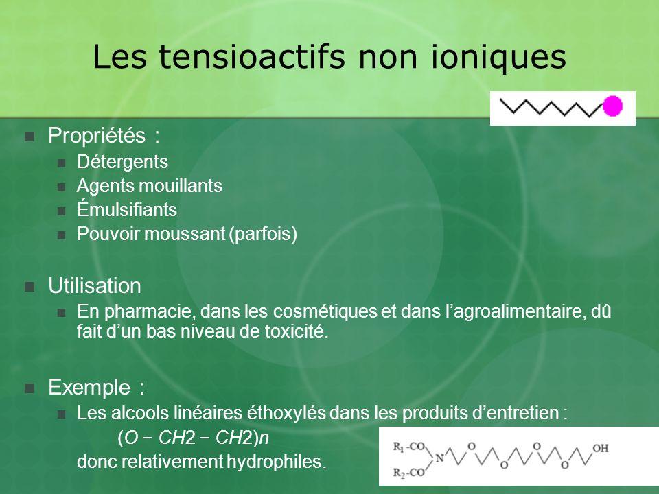 Les tensioactifs non ioniques Propriétés : Détergents Agents mouillants Émulsifiants Pouvoir moussant (parfois) Utilisation En pharmacie, dans les cosmétiques et dans lagroalimentaire, dû fait dun bas niveau de toxicité.