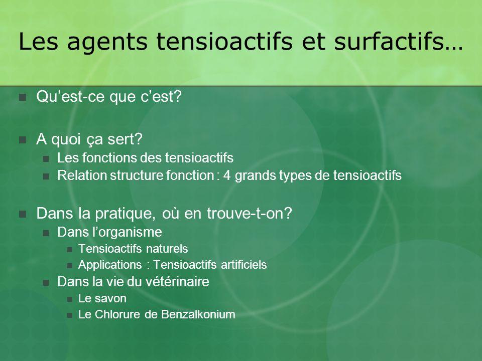 Les agents tensioactifs et surfactifs… Quest-ce que cest.
