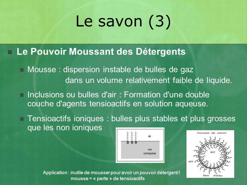 Le savon (3) Le Pouvoir Moussant des Détergents Mousse : dispersion instable de bulles de gaz dans un volume relativement faible de Iiquide.