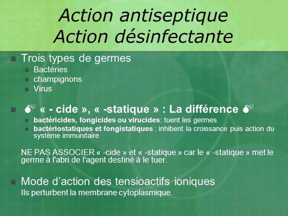 Trois types de germes Bactéries champignons Virus « - cide », « -statique » : La différence bactéricides, fongicides ou virucides: tuent les germes bactériostatiques et fongistatiques : inhibent la croissance puis action du système immunitaire NE PAS ASSOCIER « -cide » et « -statique » car le « -statique » met le germe à l abri de l agent destiné à le tuer.