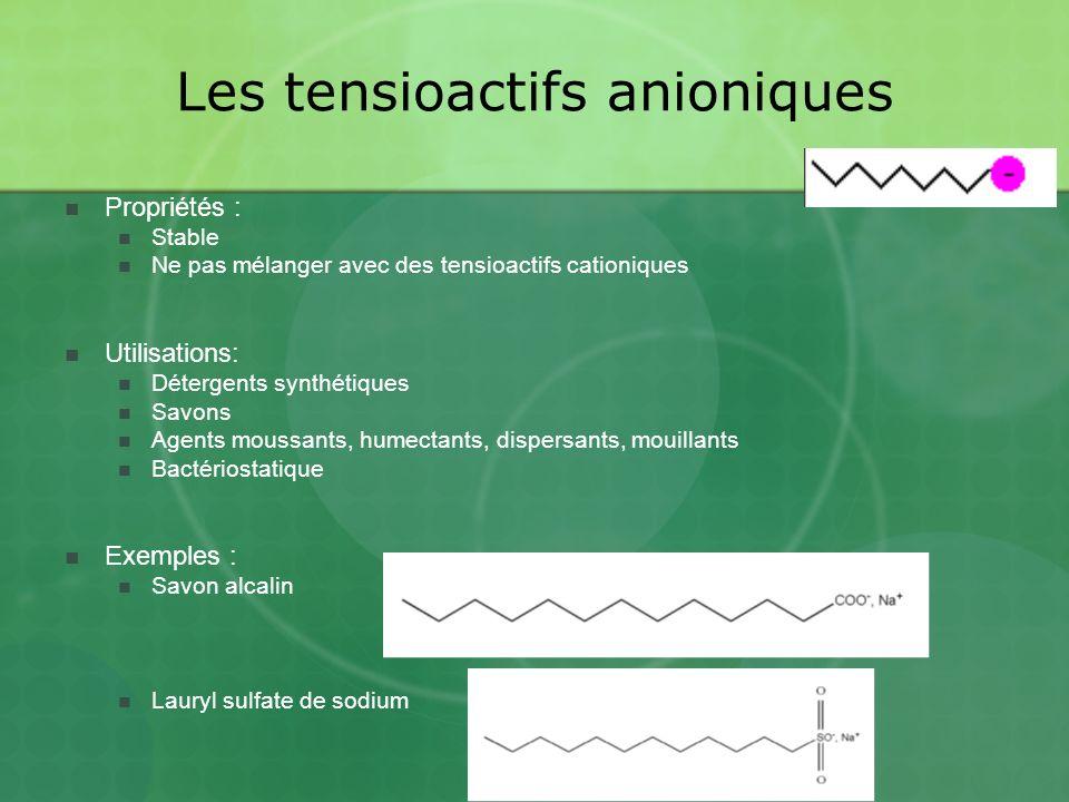 Les tensioactifs anioniques Propriétés : Stable Ne pas mélanger avec des tensioactifs cationiques Utilisations: Détergents synthétiques Savons Agents moussants, humectants, dispersants, mouillants Bactériostatique Exemples : Savon alcalin Lauryl sulfate de sodium
