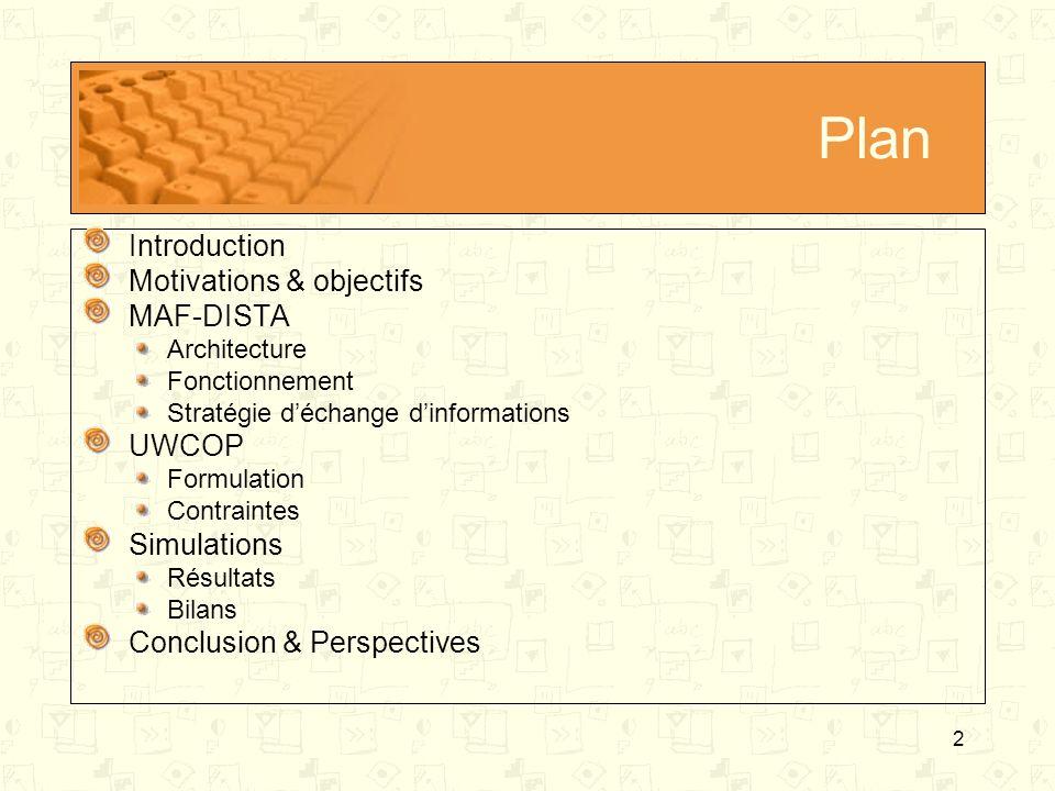 2 Plan Introduction Motivations & objectifs MAF-DISTA Architecture Fonctionnement Stratégie déchange dinformations UWCOP Formulation Contraintes Simul