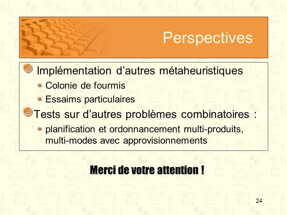 24 Perspectives Implémentation dautres métaheuristiques Colonie de fourmis Essaims particulaires Tests sur dautres problèmes combinatoires : planifica