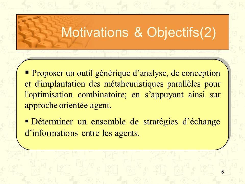 5 Motivations & Objectifs(2) Proposer un outil générique danalyse, de conception et d'implantation des métaheuristiques parallèles pour l'optimisation