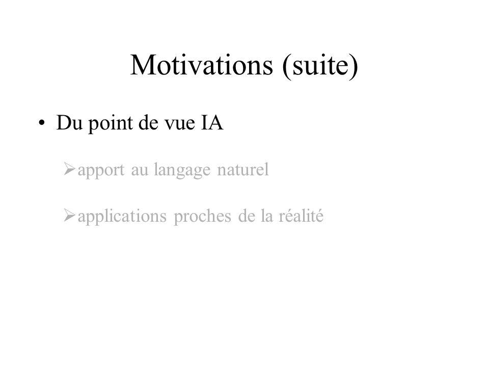 Motivations (suite) Du point de vue IA apport au langage naturel applications proches de la réalité