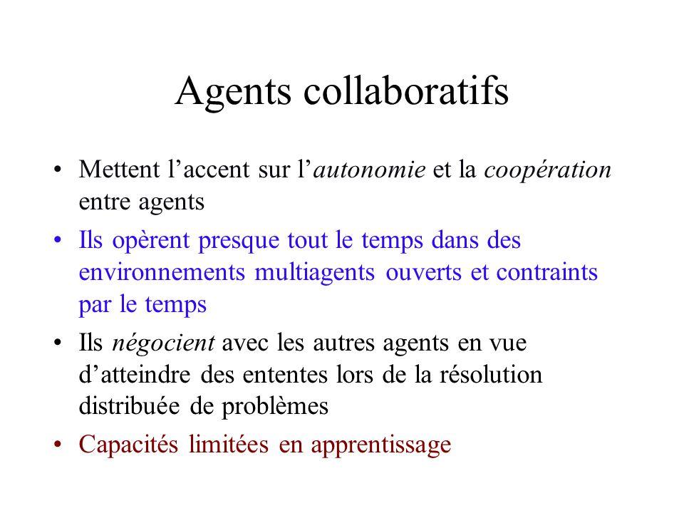Agents collaboratifs Mettent laccent sur lautonomie et la coopération entre agents Ils opèrent presque tout le temps dans des environnements multiagen