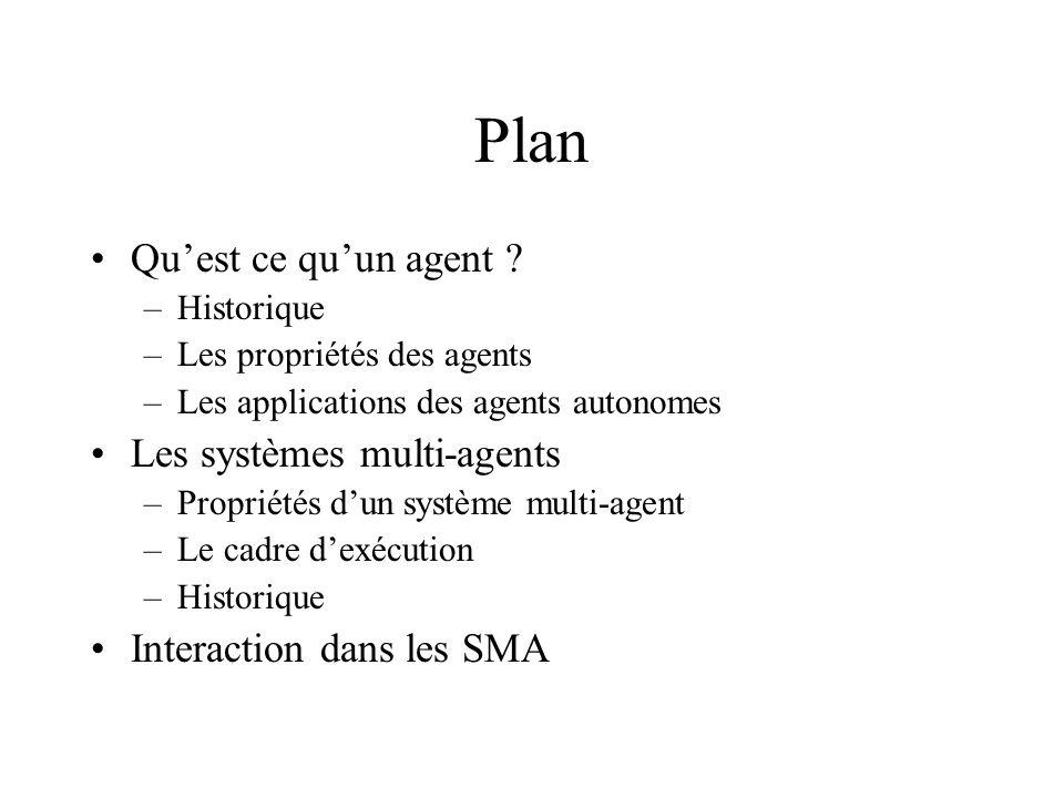 Plan Quest ce quun agent ? –Historique –Les propriétés des agents –Les applications des agents autonomes Les systèmes multi-agents –Propriétés dun sys