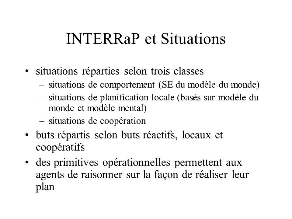 INTERRaP et Situations situations réparties selon trois classes –situations de comportement (SE du modèle du monde) –situations de planification local