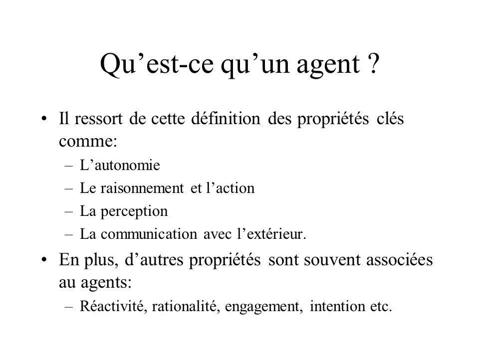 Quest-ce quun agent ? Il ressort de cette définition des propriétés clés comme: –Lautonomie –Le raisonnement et laction –La perception –La communicati