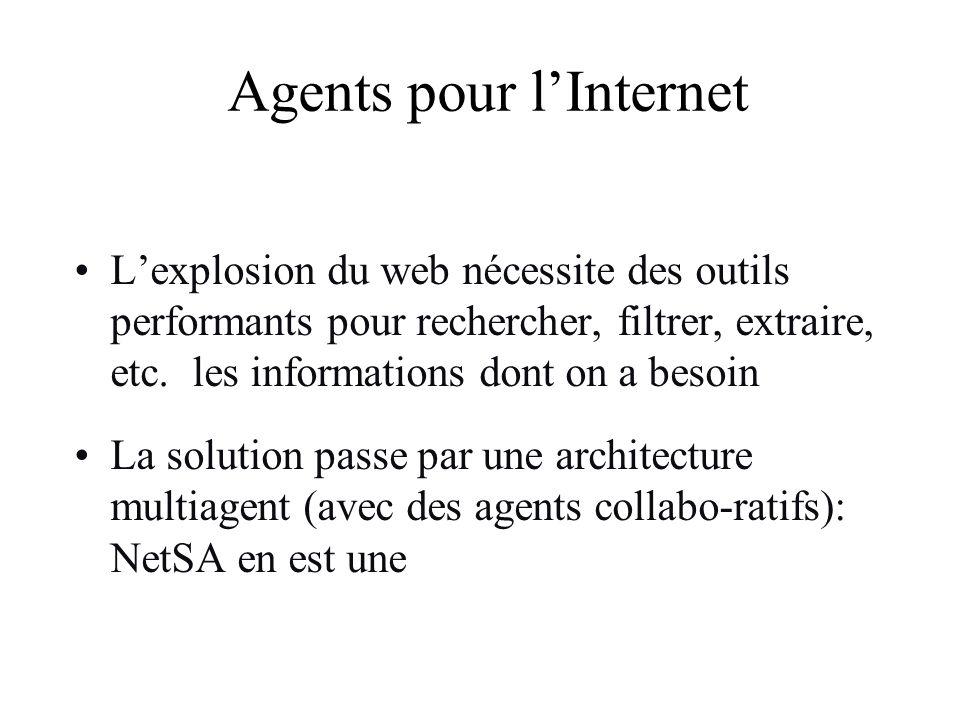 Agents pour lInternet Lexplosion du web nécessite des outils performants pour rechercher, filtrer, extraire, etc. les informations dont on a besoin La
