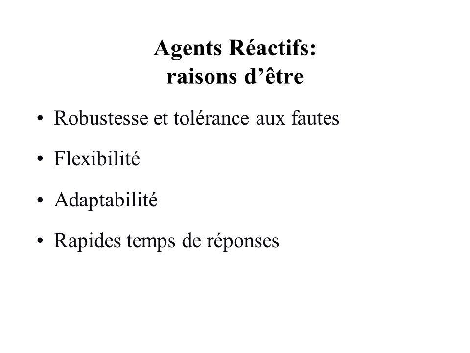 Agents Réactifs: raisons dêtre Robustesse et tolérance aux fautes Flexibilité Adaptabilité Rapides temps de réponses