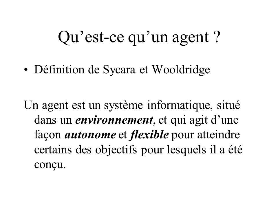 Quest-ce quun agent ? Définition de Sycara et Wooldridge Un agent est un système informatique, situé dans un environnement, et qui agit dune façon aut