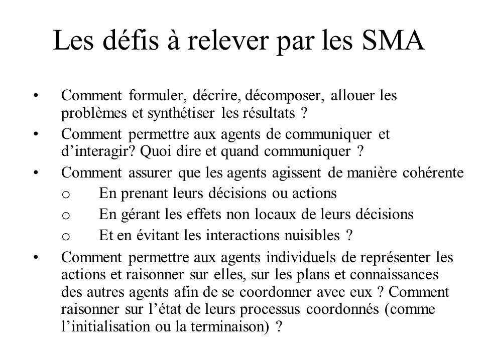 Les défis à relever par les SMA Comment formuler, décrire, décomposer, allouer les problèmes et synthétiser les résultats ? Comment permettre aux agen