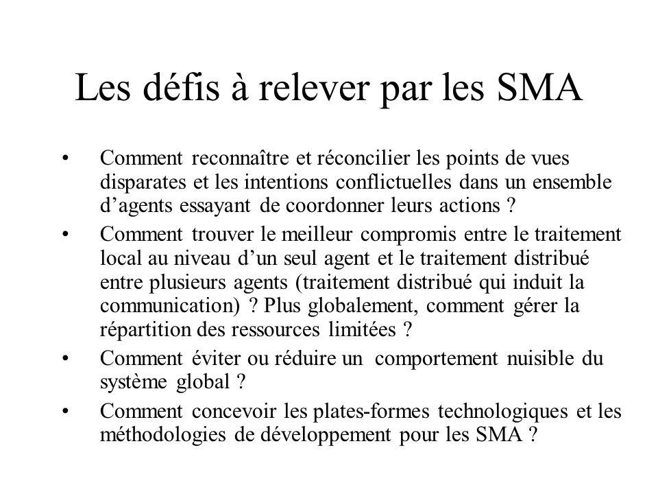 Les défis à relever par les SMA Comment reconnaître et réconcilier les points de vues disparates et les intentions conflictuelles dans un ensemble dag