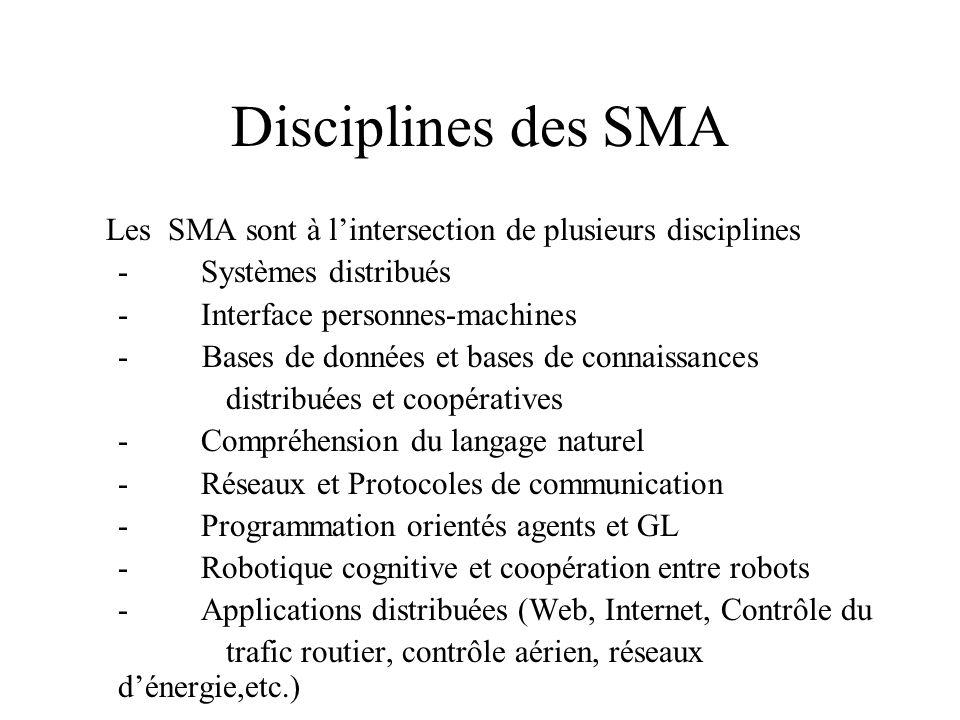 Disciplines des SMA Les SMA sont à lintersection de plusieurs disciplines - Systèmes distribués - Interface personnes-machines - Bases de données et b