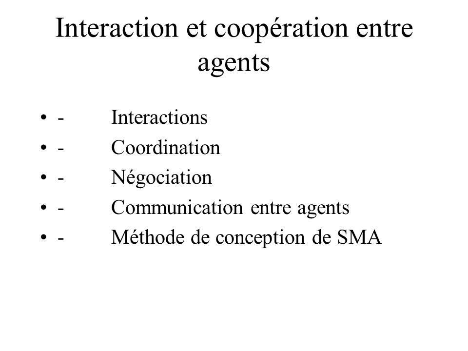 Interaction et coopération entre agents - Interactions - Coordination - Négociation - Communication entre agents - Méthode de conception de SMA