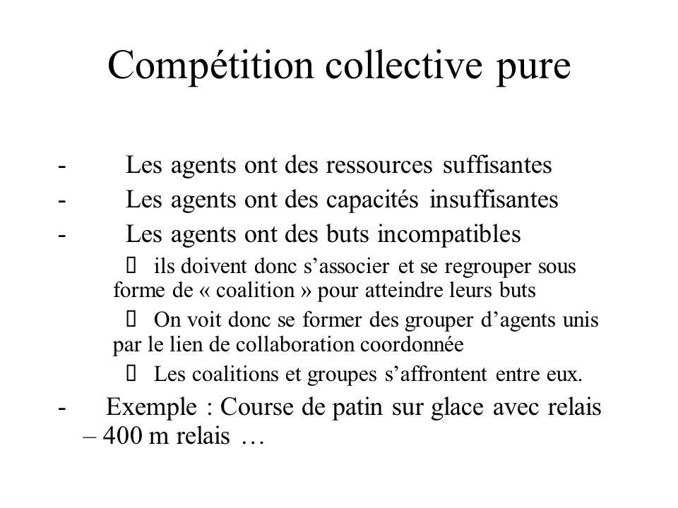 Compétition collective pure - Les agents ont des ressources suffisantes - Les agents ont des capacités insuffisantes - Les agents ont des buts incompa