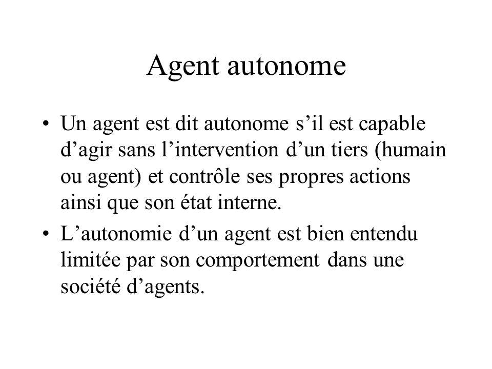 Agent autonome Un agent est dit autonome sil est capable dagir sans lintervention dun tiers (humain ou agent) et contrôle ses propres actions ainsi qu