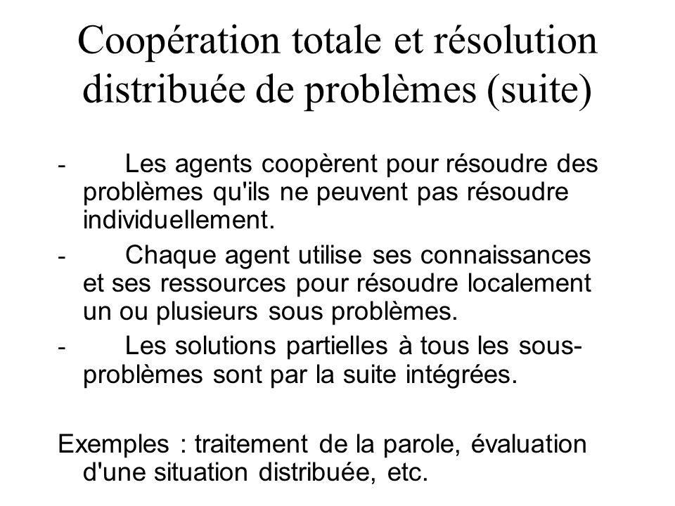 Coopération totale et résolution distribuée de problèmes (suite) - Les agents coopèrent pour résoudre des problèmes qu'ils ne peuvent pas résoudre ind