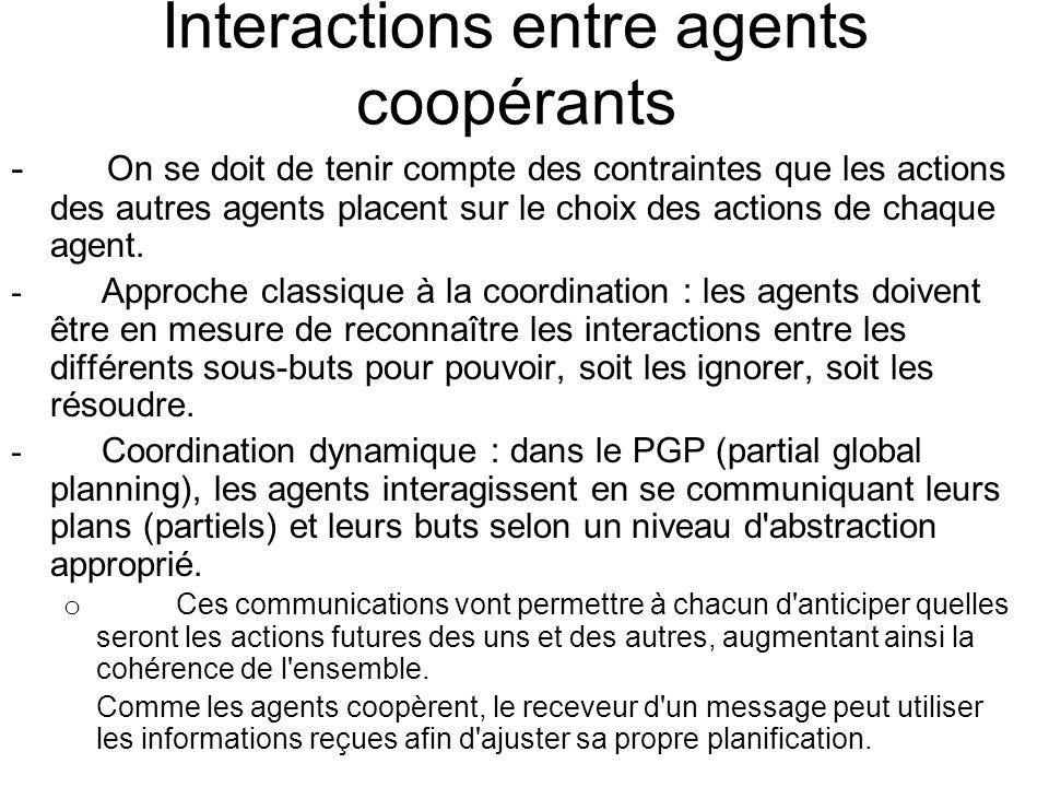 Interactions entre agents coopérants - On se doit de tenir compte des contraintes que les actions des autres agents placent sur le choix des actions d