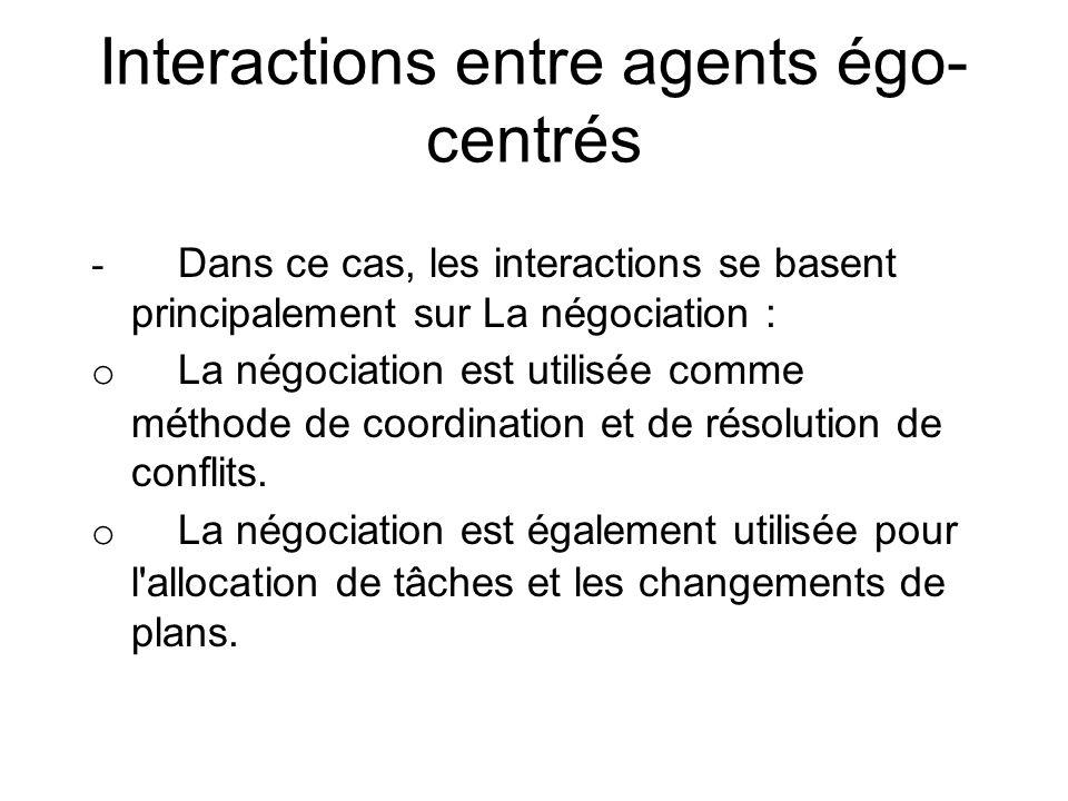 Interactions entre agents égo- centrés - Dans ce cas, les interactions se basent principalement sur La négociation : o La négociation est utilisée com