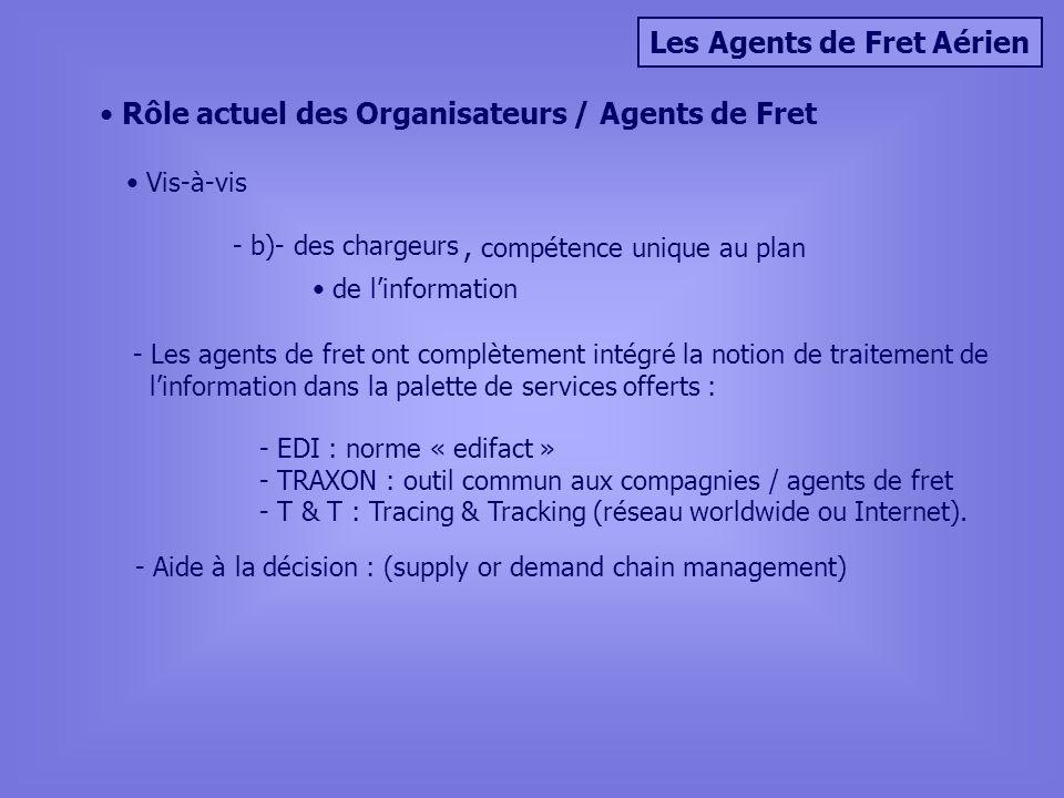 Les Agents de Fret Aérien Rôle actuel des Organisateurs / Agents de Fret Vis-à-vis - b)- des chargeurs, compétence unique au plan de linformation - Les agents de fret ont complètement intégré la notion de traitement de linformation dans la palette de services offerts : - EDI : norme « edifact » - TRAXON : outil commun aux compagnies / agents de fret - T & T : Tracing & Tracking (réseau worldwide ou Internet).