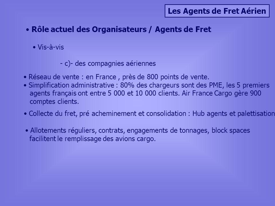 Les Agents de Fret Aérien Rôle actuel des Organisateurs / Agents de Fret Vis-à-vis - c)- des compagnies aériennes Réseau de vente : en France, près de 800 points de vente.