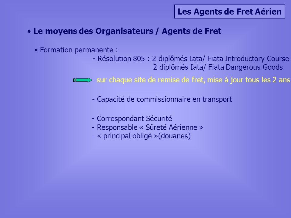 Les Agents de Fret Aérien Le moyens des Organisateurs / Agents de Fret Formation permanente : - Résolution 805 : 2 diplômés Iata/ Fiata Introductory C