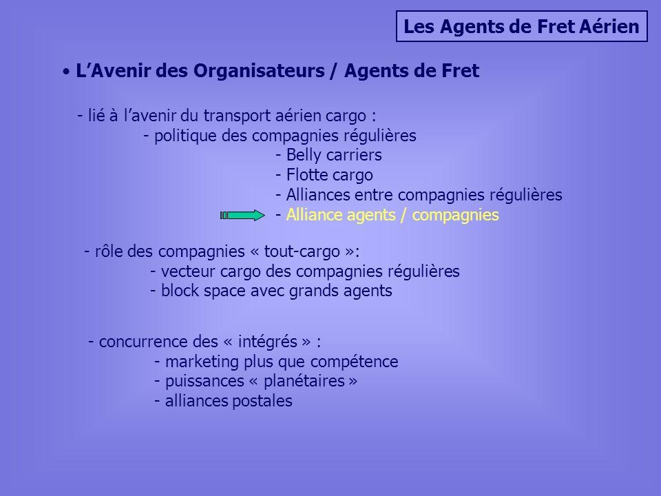 Les Agents de Fret Aérien LAvenir des Organisateurs / Agents de Fret - lié à lavenir du transport aérien cargo : - politique des compagnies régulières