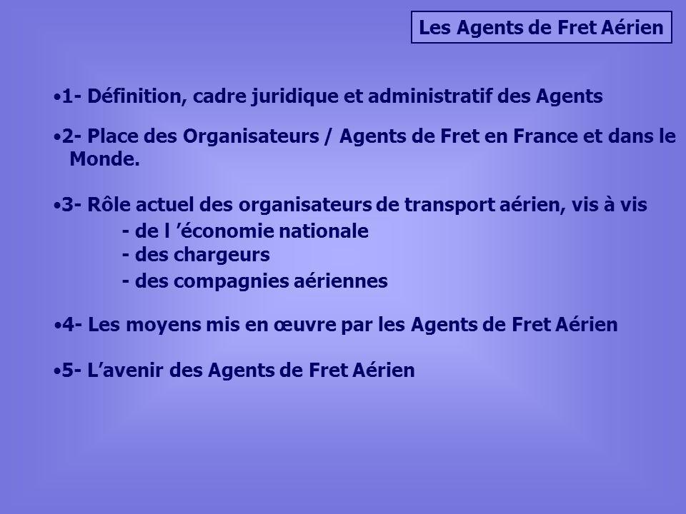 Les Agents de Fret Aérien 1- Définition, cadre juridique et administratif des Agents 3- Rôle actuel des organisateurs de transport aérien, vis à vis -